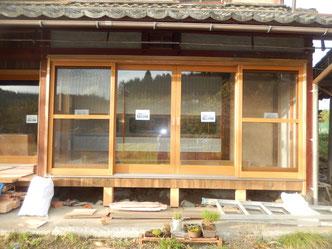 のらちん工房の木製サッシ、木製サッシスライディングドア